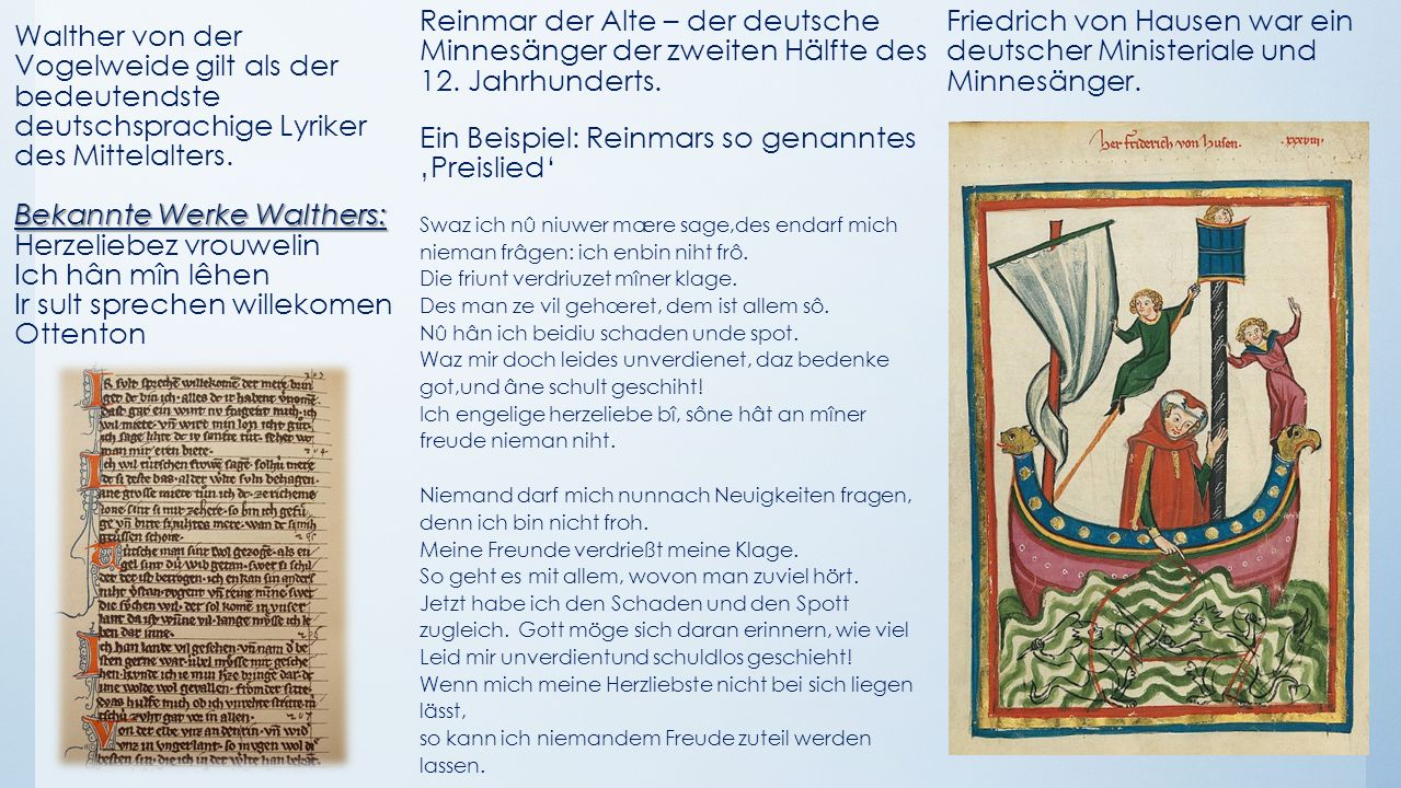 Bekannte Werke Walthers: Walther von der Vogelweide gilt als der bedeutendste deutschsprachige Lyriker des Mittelalters. Bekannte Werke Walthers: Herz