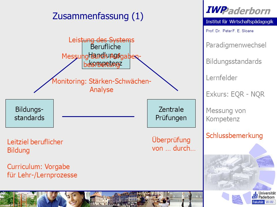 Institut für Wirtschaftspädagogik Prof. Dr. Peter F.