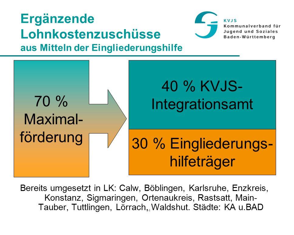 14 Ergänzende Lohnkostenzuschüsse aus Mitteln der Eingliederungshilfe Bereits umgesetzt in LK: Calw, Böblingen, Karlsruhe, Enzkreis, Konstanz, Sigmaringen, Ortenaukreis, Rastsatt, Main- Tauber, Tuttlingen, Lörrach, Waldshut.