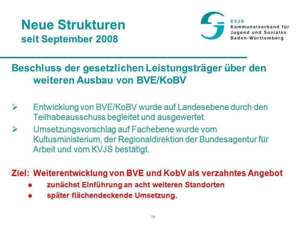 15 Neue Strukturen seit September 2008 Beschluss der gesetzlichen Leistungsträger über den weiteren Ausbau von BVE/KoBV  Entwicklung von BVE/KoBV wurde auf Landesebene durch den Teilhabeausschuss begleitet und ausgewertet.
