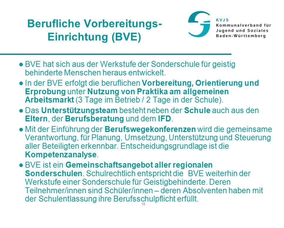 16 Berufliche Vorbereitungs- Einrichtung (BVE) BVE hat sich aus der Werkstufe der Sonderschule für geistig behinderte Menschen heraus entwickelt.