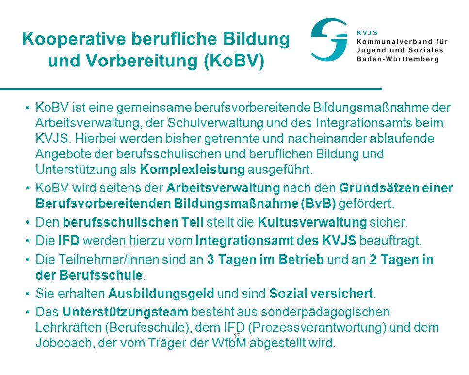 17 Kooperative berufliche Bildung und Vorbereitung (KoBV) KoBV ist eine gemeinsame berufsvorbereitende Bildungsmaßnahme der Arbeitsverwaltung, der Schulverwaltung und des Integrationsamts beim KVJS.