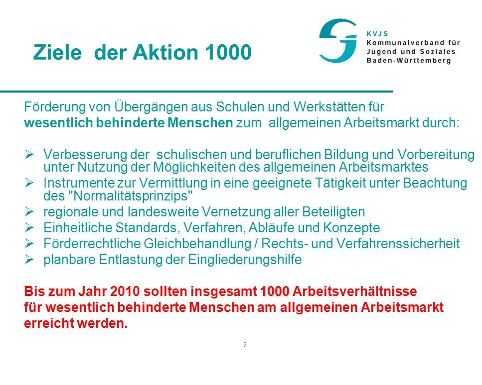 """4 Erforderliche Maßnahmen  Neuausrichtung der Integrationsfachdienste (IFD)  Pilotprojekte des KVJS und anderer Beteiligter  Förderprogramm: Aktion Arbeit für schwerbehinderte Menschen"""" - seit 01.01.2007 erweitert um das Programm Job 4000 des Bundes  Einführung der Netzwerk- und Berufwegekonferenzen  Regionale und landesweite Vernetzung in Baden-Württemberg Alle Punkte sind inzwischen umgesetzt"""