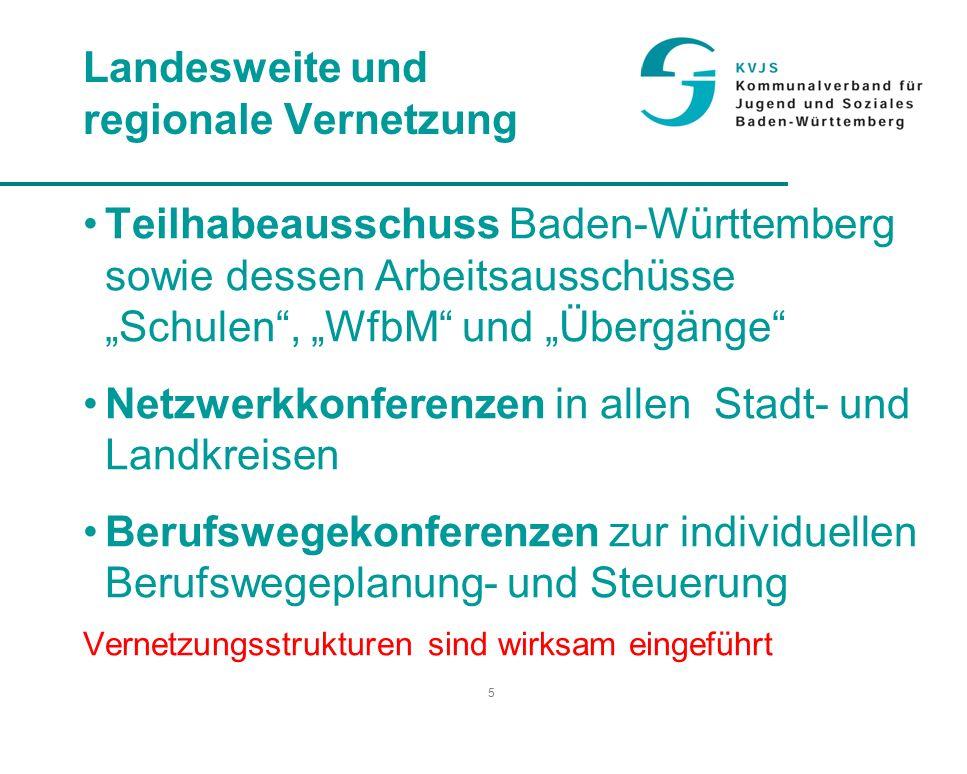 """5 Landesweite und regionale Vernetzung Teilhabeausschuss Baden-Württemberg sowie dessen Arbeitsausschüsse """"Schulen , """"WfbM und """"Übergänge Netzwerkkonferenzen in allen Stadt- und Landkreisen Berufswegekonferenzen zur individuellen Berufswegeplanung- und Steuerung Vernetzungsstrukturen sind wirksam eingeführt"""
