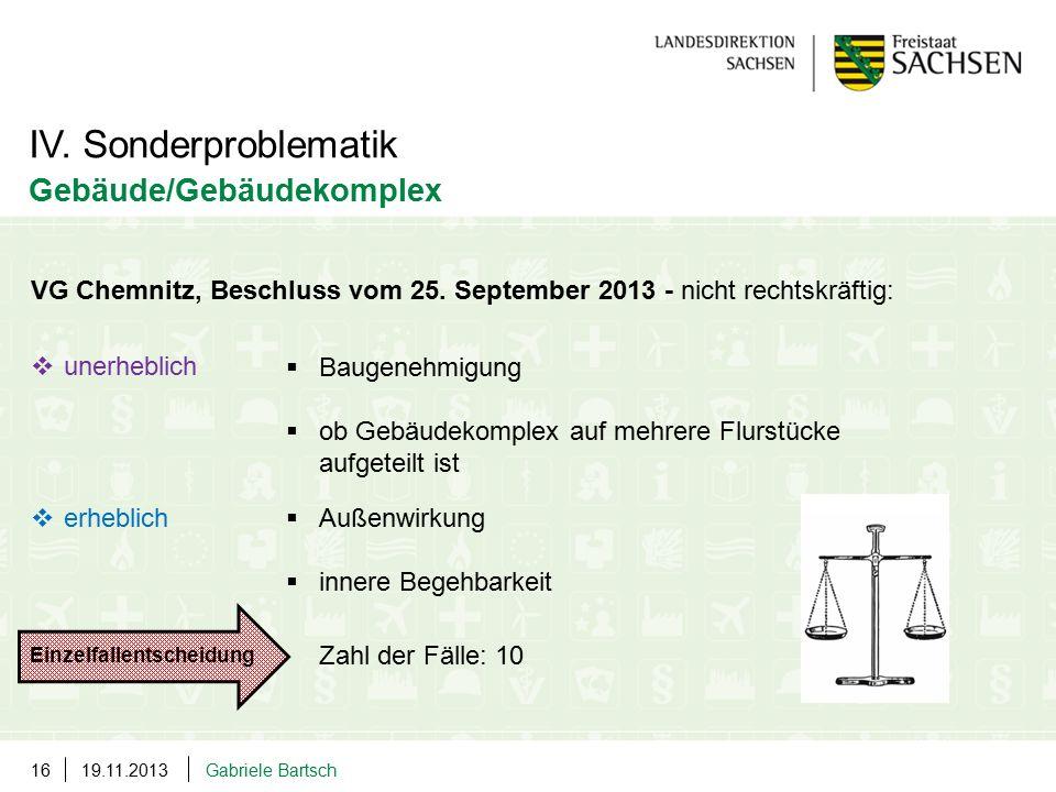 19.11.2013Gabriele Bartsch16 VG Chemnitz, Beschluss vom 25. September 2013 - nicht rechtskräftig:  unerheblich  erheblich IV. Sonderproblematik Gebä