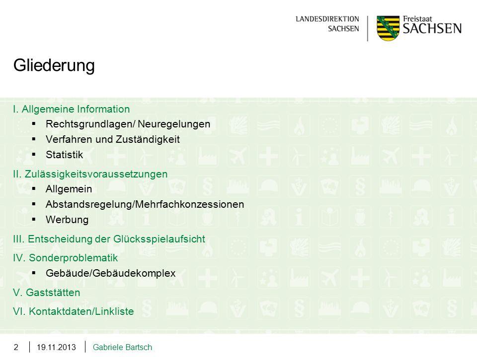 19.11.2013Gabriele Bartsch2 I. Allgemeine Information  Rechtsgrundlagen/ Neuregelungen  Verfahren und Zuständigkeit  Statistik II. Zulässigkeitsvor