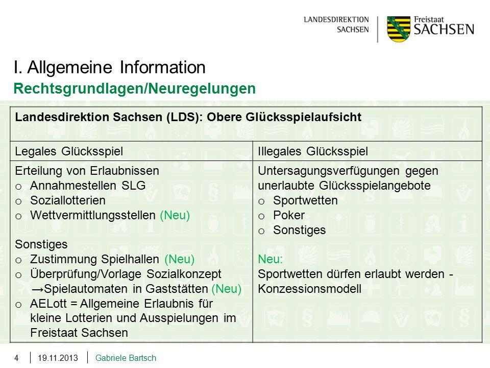 19.11.2013Gabriele Bartsch4 I. Allgemeine Information Rechtsgrundlagen/Neuregelungen Landesdirektion Sachsen (LDS): Obere Glücksspielaufsicht Legales
