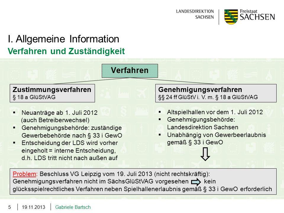 19.11.2013Gabriele Bartsch5 I. Allgemeine Information Verfahren und Zuständigkeit Verfahren Zustimmungsverfahren § 18 a GlüStVAG Genehmigungsverfahren