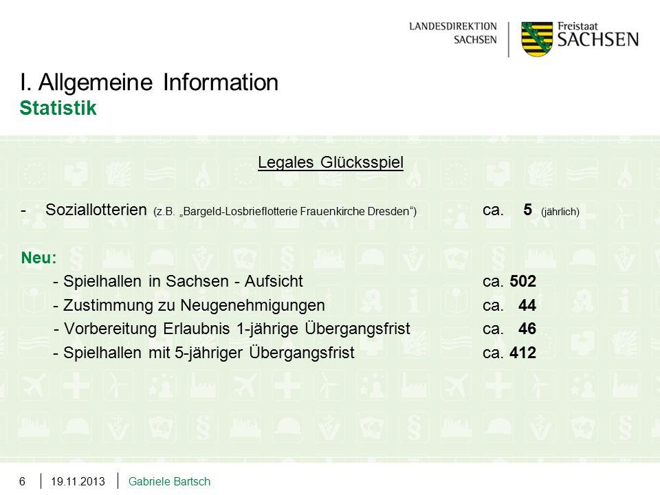 """Legales Glücksspiel -Soziallotterien (z.B. """"Bargeld-Losbrieflotterie Frauenkirche Dresden"""") ca. 5 (jährlich) Neu: - Spielhallen in Sachsen - Aufsicht"""