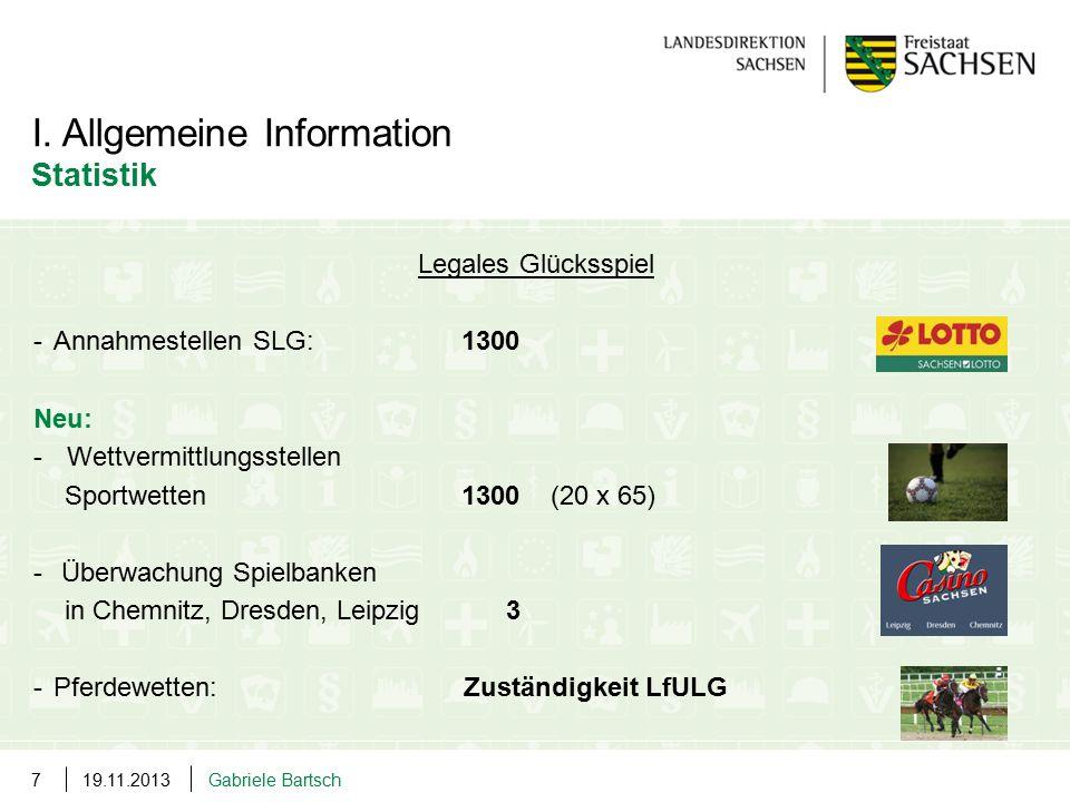 I. Allgemeine Information Statistik Legales Glücksspiel -Annahmestellen SLG: 1300 Neu: -Wettvermittlungsstellen Sportwetten 1300 (20 x 65) - Überwachu
