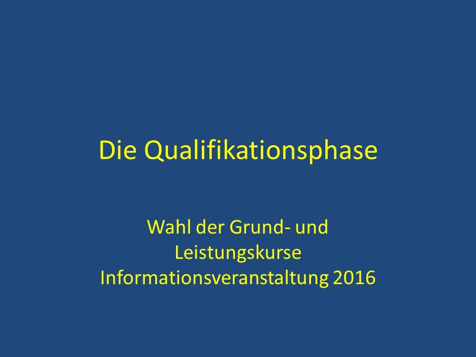 Die Qualifikationsphase Wahl der Grund- und Leistungskurse Informationsveranstaltung 2016