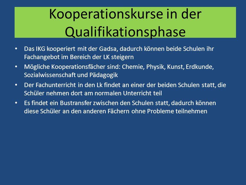 Kooperationskurse in der Qualifikationsphase Das IKG kooperiert mit der Gadsa, dadurch können beide Schulen ihr Fachangebot im Bereich der LK steigern
