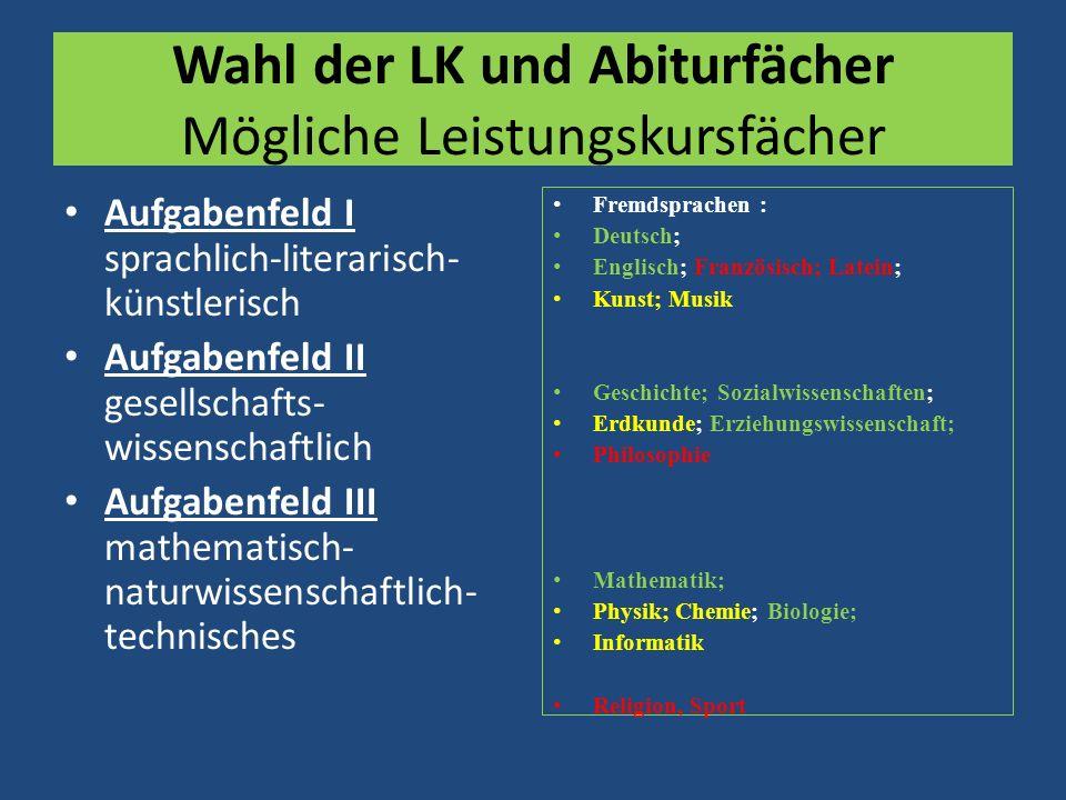 Wahl der LK und Abiturfächer Mögliche Leistungskursfächer Aufgabenfeld I sprachlich-literarisch- künstlerisch Aufgabenfeld II gesellschafts- wissensch