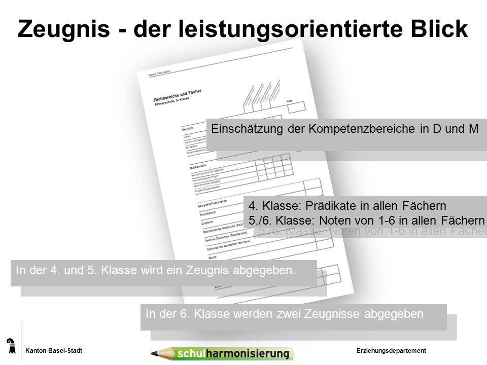 Kanton Basel-Stadt Zeugnis - der leistungsorientierte Blick Erziehungsdepartement 4.