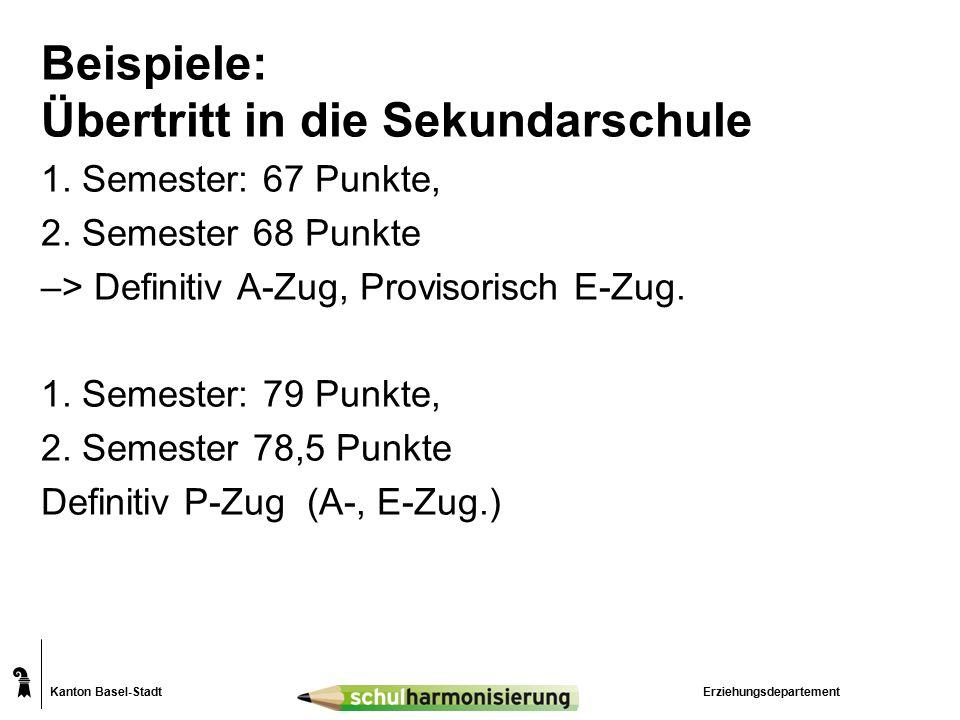 Kanton Basel-Stadt Beispiele: Übertritt in die Sekundarschule 1.