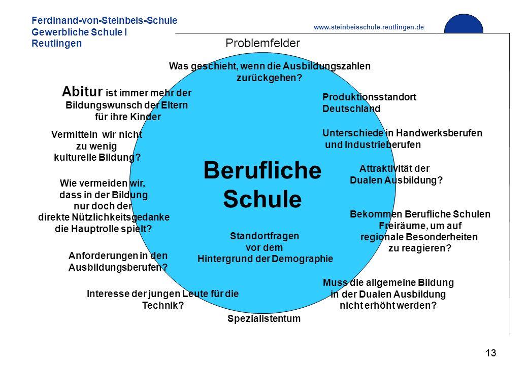 Ferdinand-von-Steinbeis-Schule Gewerbliche Schule I Reutlingen www.steinbeisschule-reutlingen.de 13 Problemfelder Abitur ist immer mehr der Bildungswunsch der Eltern für ihre Kinder Attraktivität der Dualen Ausbildung.