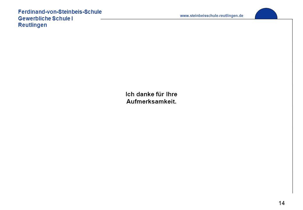 Ferdinand-von-Steinbeis-Schule Gewerbliche Schule I Reutlingen www.steinbeisschule-reutlingen.de 14 Ich danke für Ihre Aufmerksamkeit.