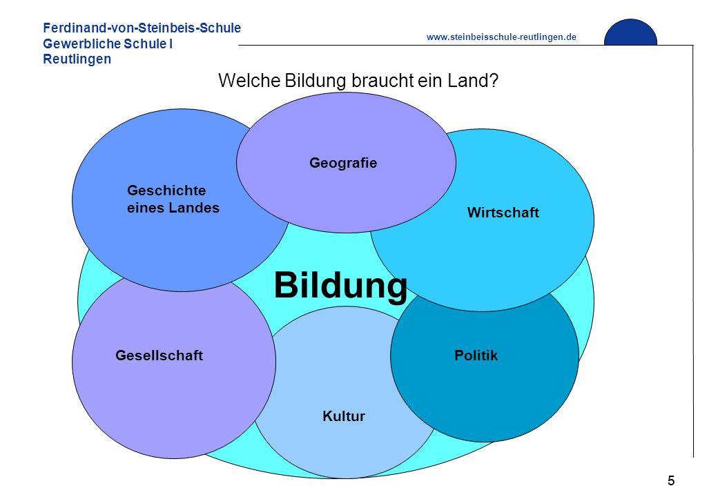Ferdinand-von-Steinbeis-Schule Gewerbliche Schule I Reutlingen www.steinbeisschule-reutlingen.de 5 Welche Bildung braucht ein Land.
