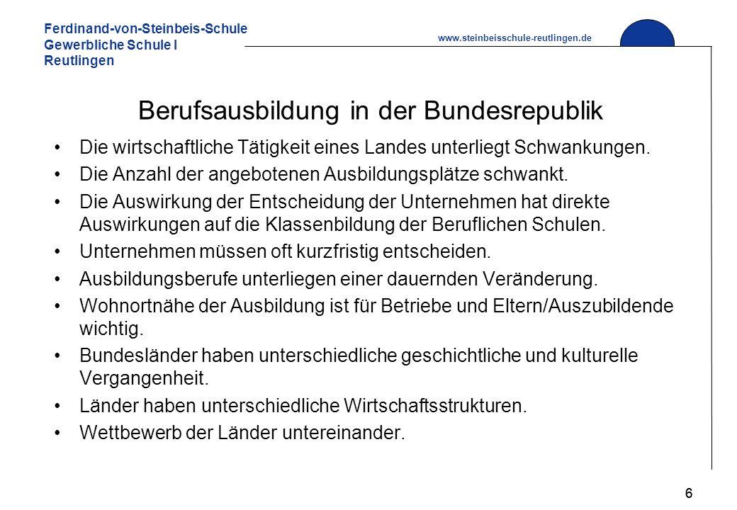 Ferdinand-von-Steinbeis-Schule Gewerbliche Schule I Reutlingen www.steinbeisschule-reutlingen.de 6 Berufsausbildung in der Bundesrepublik Die wirtschaftliche Tätigkeit eines Landes unterliegt Schwankungen.