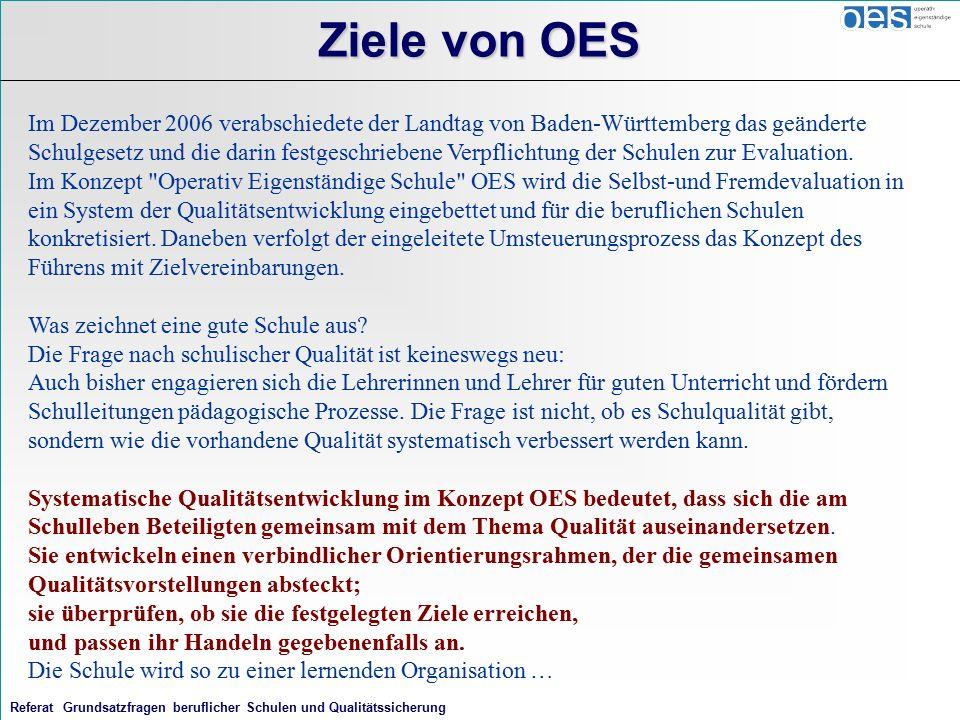 Referat Grundsatzfragen beruflicher Schulen und Qualitätssicherung Ziele von OES Im Dezember 2006 verabschiedete der Landtag von Baden-Württemberg das geänderte Schulgesetz und die darin festgeschriebene Verpflichtung der Schulen zur Evaluation.