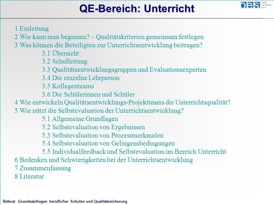 Referat Grundsatzfragen beruflicher Schulen und Qualitätssicherung QE-Bereich: Unterricht 1 Einleitung 2 Wie kann man beginnen.