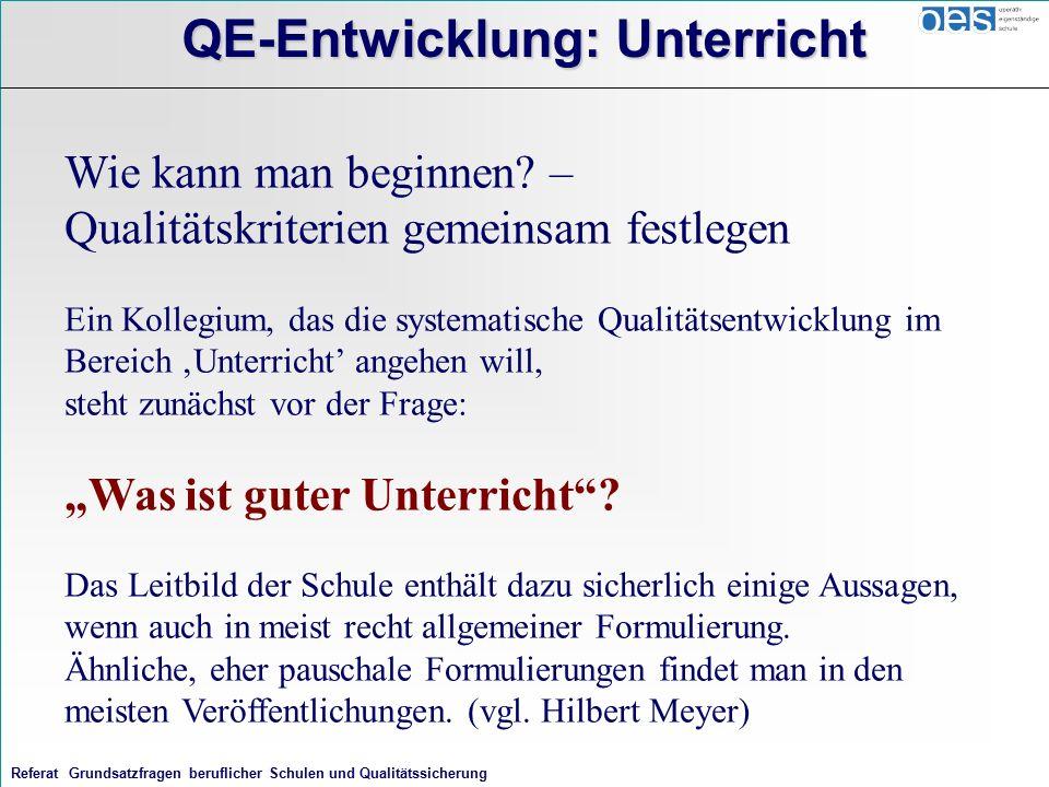 Referat Grundsatzfragen beruflicher Schulen und Qualitätssicherung QE-Entwicklung: Unterricht Wie kann man beginnen.