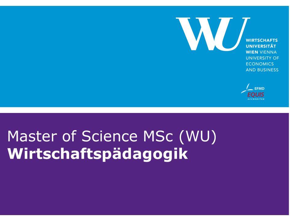 Master of Science MSc (WU) Wirtschaftspädagogik