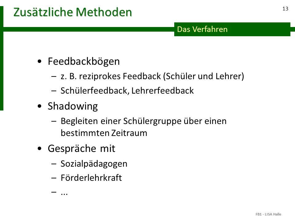 Das Verfahren 13 Zusätzliche Methoden Feedbackbögen –z.