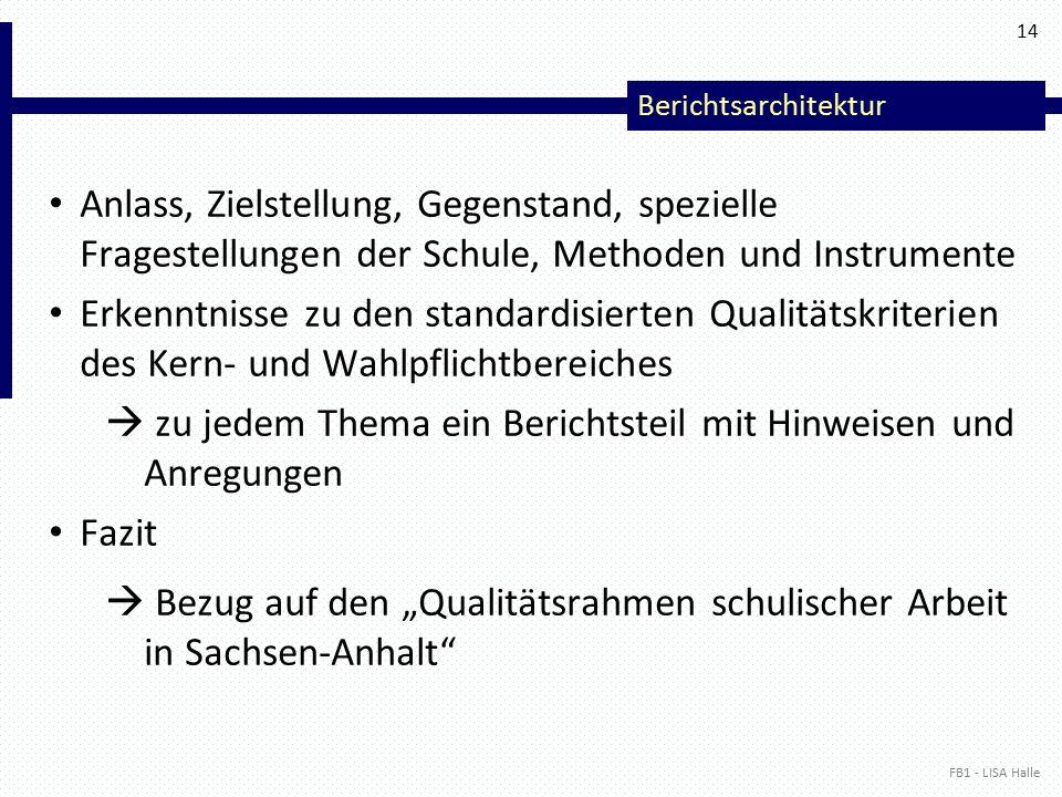 """Berichtsarchitektur Anlass, Zielstellung, Gegenstand, spezielle Fragestellungen der Schule, Methoden und Instrumente Erkenntnisse zu den standardisierten Qualitätskriterien des Kern- und Wahlpflichtbereiches  zu jedem Thema ein Berichtsteil mit Hinweisen und Anregungen Fazit  Bezug auf den """"Qualitätsrahmen schulischer Arbeit in Sachsen-Anhalt FB1 - LISA Halle 14"""