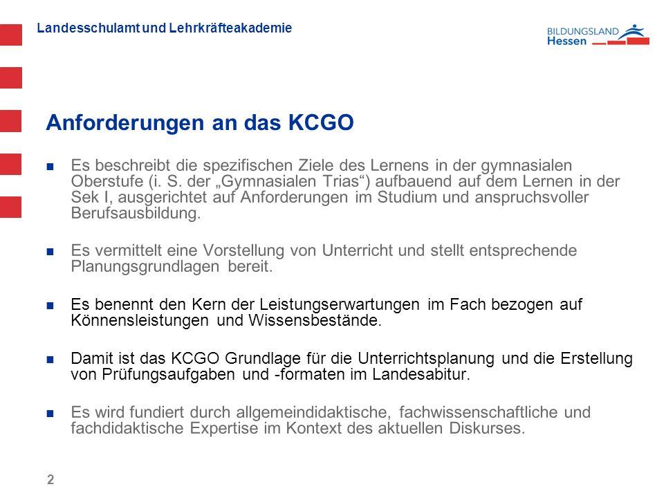 Landesschulamt und Lehrkräfteakademie Anforderungen an das KCGO 2 Es beschreibt die spezifischen Ziele des Lernens in der gymnasialen Oberstufe (i.