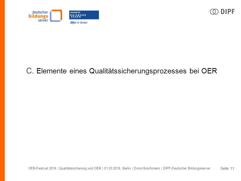 Seite OER-Festival 2016 | Qualitätssicherung und OER | 01.03.2016, Berlin | Doris Hirschmann | DIPF-Deutscher Bildungsserver 11 C.