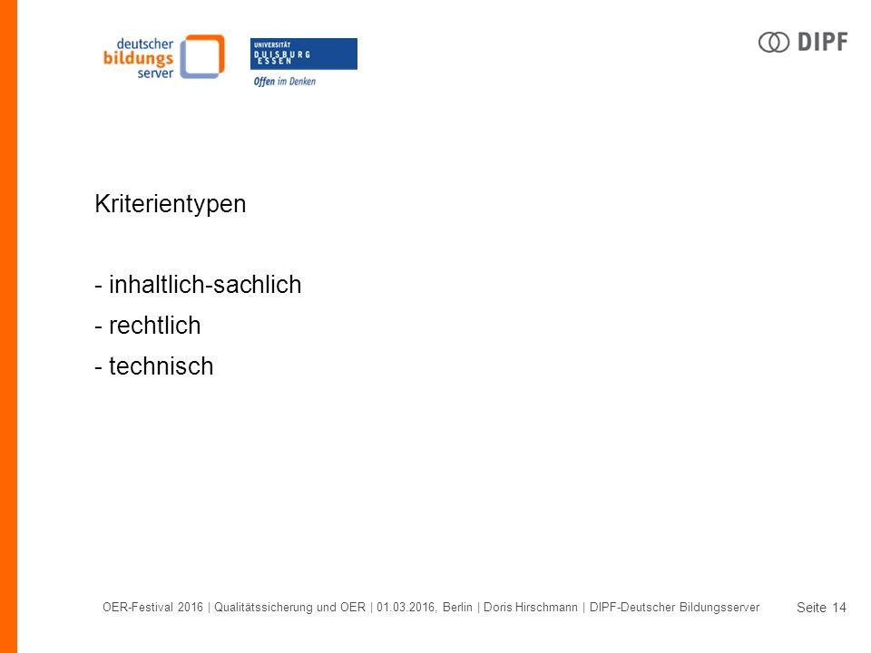 Seite OER-Festival 2016 | Qualitätssicherung und OER | 01.03.2016, Berlin | Doris Hirschmann | DIPF-Deutscher Bildungsserver 14 Kriterientypen - inhaltlich-sachlich - rechtlich - technisch