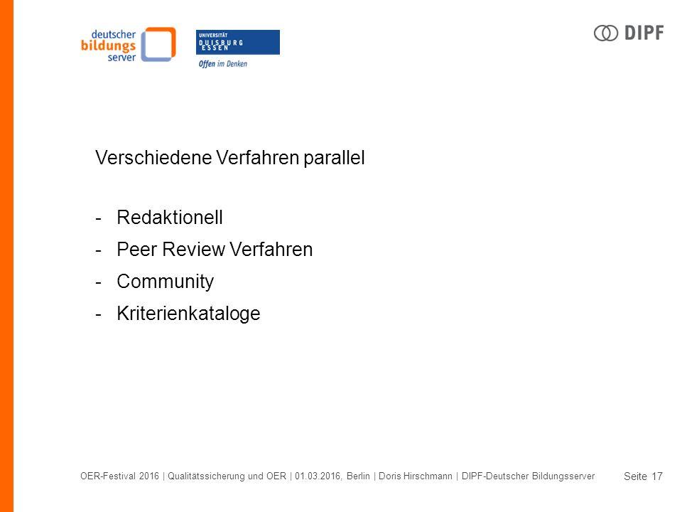 Seite OER-Festival 2016 | Qualitätssicherung und OER | 01.03.2016, Berlin | Doris Hirschmann | DIPF-Deutscher Bildungsserver 17 Verschiedene Verfahren parallel -Redaktionell -Peer Review Verfahren -Community -Kriterienkataloge