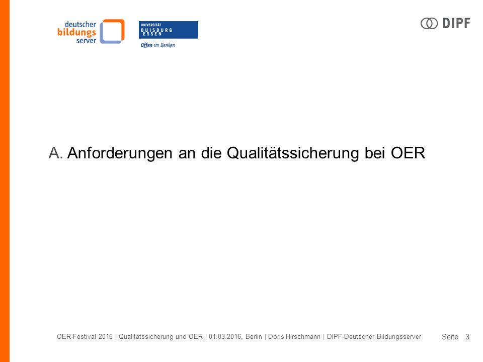 Seite OER-Festival 2016 | Qualitätssicherung und OER | 01.03.2016, Berlin | Doris Hirschmann | DIPF-Deutscher Bildungsserver 3 A.