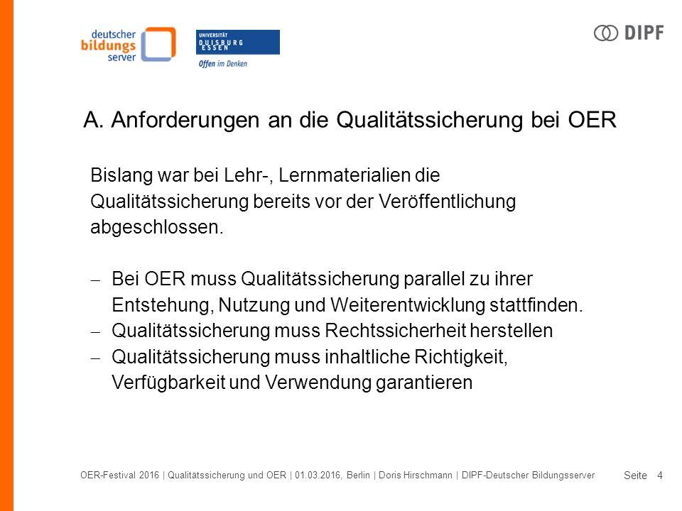 Seite OER-Festival 2016 | Qualitätssicherung und OER | 01.03.2016, Berlin | Doris Hirschmann | DIPF-Deutscher Bildungsserver 4 A.