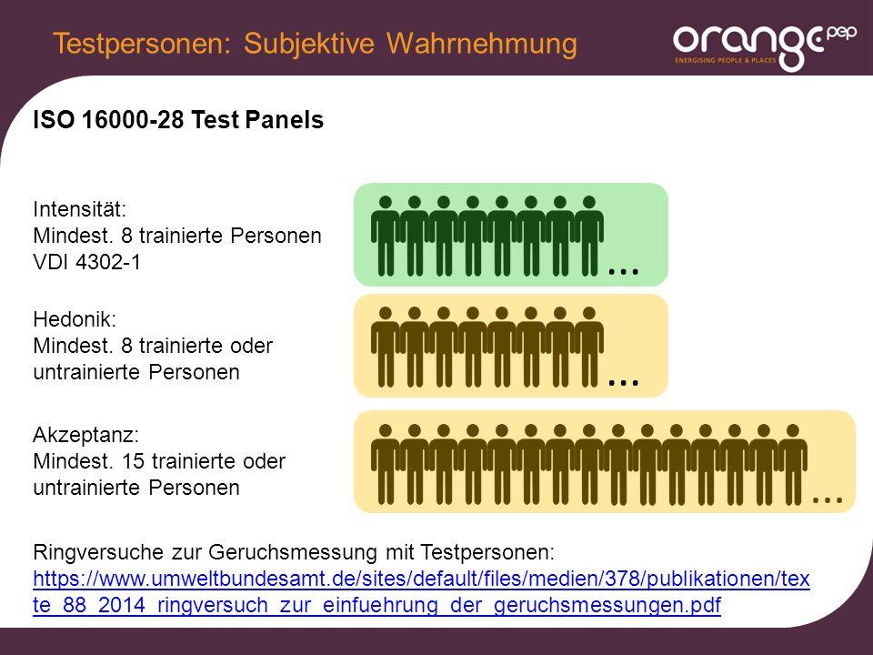 ... ISO 16000-28 Test Panels Testpersonen: Subjektive Wahrnehmung Intensität: Mindest.