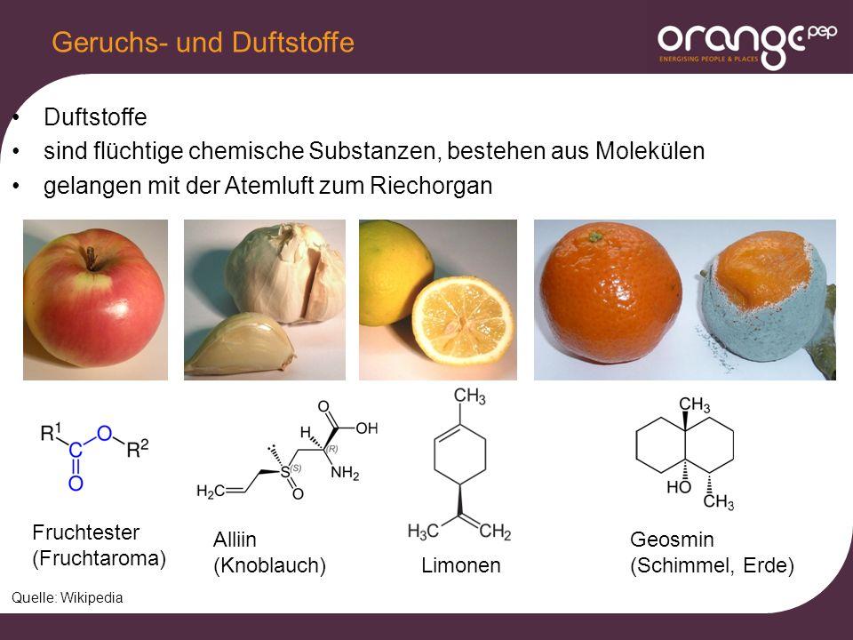 Duftstoffe sind flüchtige chemische Substanzen, bestehen aus Molekülen gelangen mit der Atemluft zum Riechorgan Geruchs- und Duftstoffe Limonen Quelle: Wikipedia Fruchtester (Fruchtaroma) Alliin (Knoblauch) Geosmin (Schimmel, Erde)