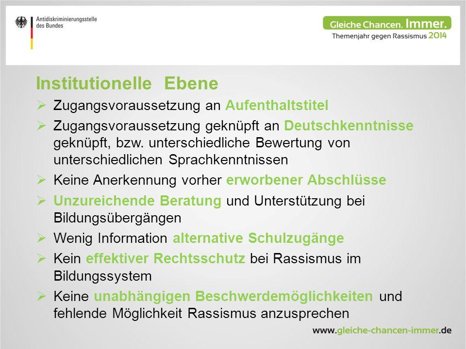 Institutionelle Ebene  Zugangsvoraussetzung an Aufenthaltstitel  Zugangsvoraussetzung geknüpft an Deutschkenntnisse geknüpft, bzw.