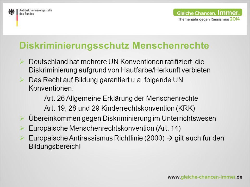 Diskriminierungsschutz Menschenrechte  Deutschland hat mehrere UN Konventionen ratifiziert, die Diskriminierung aufgrund von Hautfarbe/Herkunft verbieten  Das Recht auf Bildung garantiert u.a.