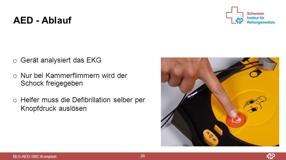 BLS-AED-SRC-Komplett 20 AED - Ablauf o Gerät analysiert das EKG o Nur bei Kammerflimmern wird der Schock freigegeben o Helfer muss die Defibrillation