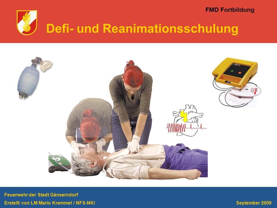 FMD Fortbildung Defi- und Reanimationsschulung Feuerwehr der Stadt Gänserndorf Erstellt von LM Mario Krammel / NFS-NKI September 2009