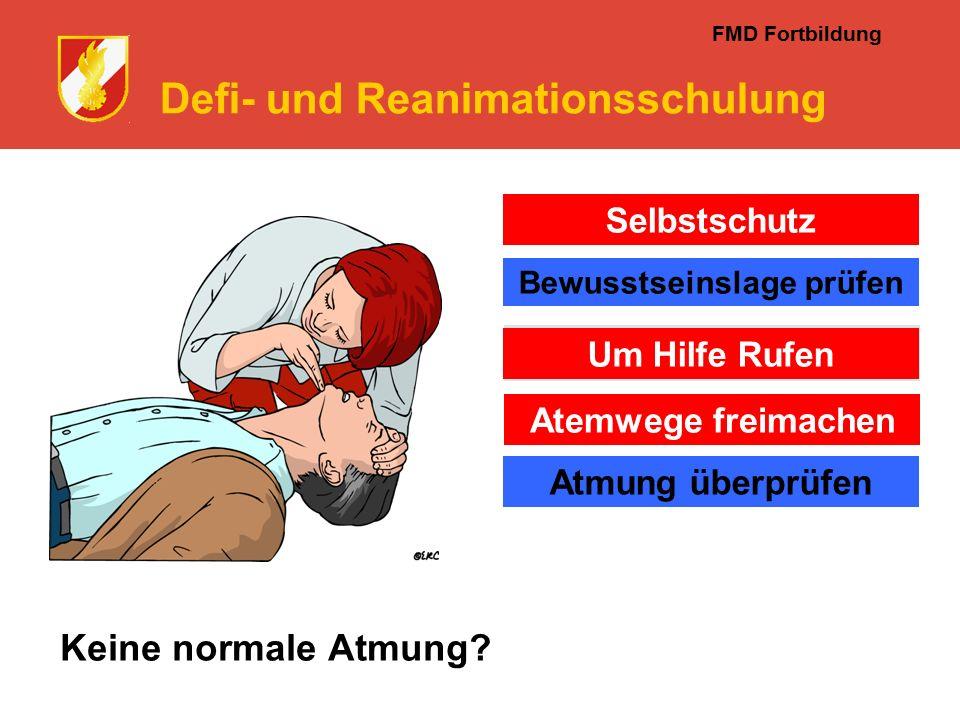 FMD Fortbildung Defi- und Reanimationsschulung Keine normale Atmung.