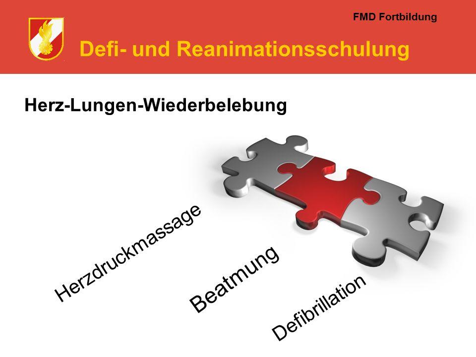 FMD Fortbildung Defi- und Reanimationsschulung Herz-Lungen-Wiederbelebung Herzdruckmassage Beatmu ng Defibrillation