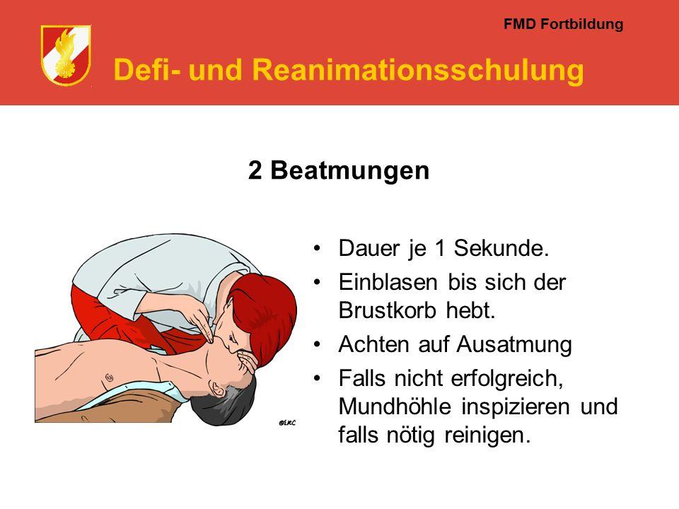 FMD Fortbildung Defi- und Reanimationsschulung 2 Beatmungen Dauer je 1 Sekunde.