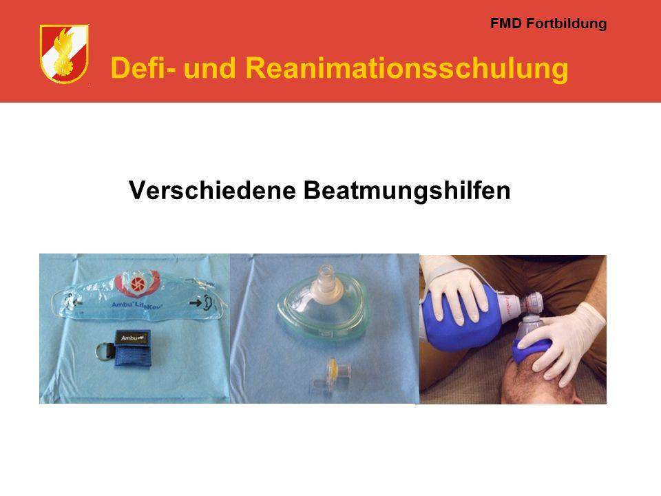 FMD Fortbildung Defi- und Reanimationsschulung Verschiedene Beatmungshilfen