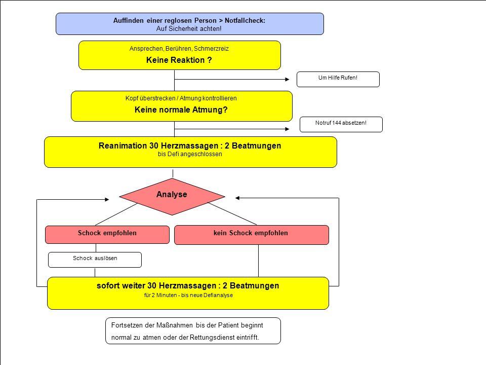 FMD Fortbildung Defi- und Reanimationsschulung Schock empfohlen kein Schock empfohlen Auffinden einer reglosen Person > Notfallcheck: Auf Sicherheit achten.