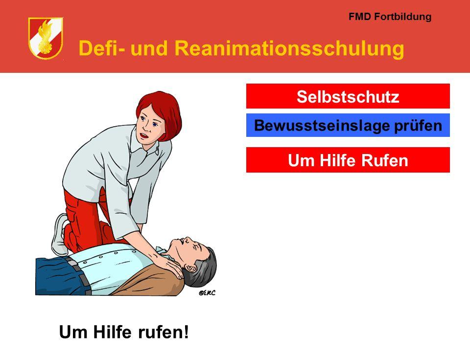 FMD Fortbildung Defi- und Reanimationsschulung Um Hilfe rufen.