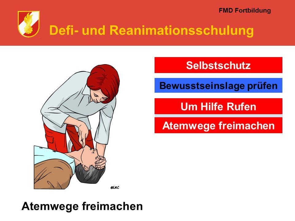 FMD Fortbildung Defi- und Reanimationsschulung Atemwege freimachen Selbstschutz Um Hilfe Rufen Atemwege freimachen Bewusstseinslage prüfen