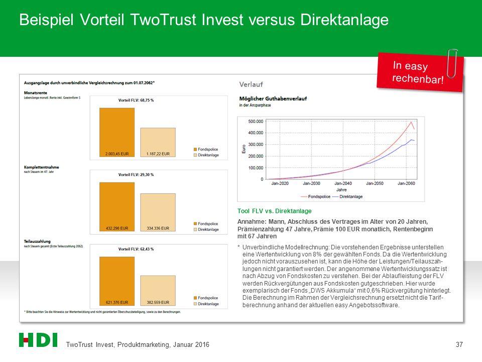 Beispiel Vorteil TwoTrust Invest versus Direktanlage TwoTrust Invest, Produktmarketing, Januar 201637 In easy rechenbar! Tool FLV vs. Direktanlage Ann