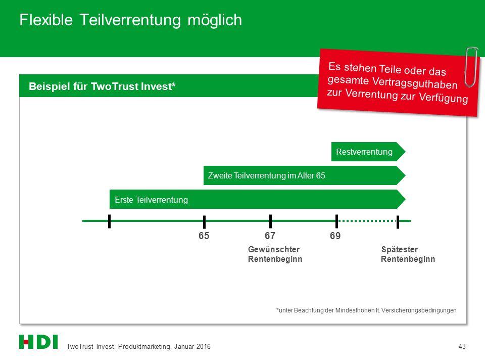 Flexible Teilverrentung möglich TwoTrust Invest, Produktmarketing, Januar 201643 Beispiel für TwoTrust Invest* *unter Beachtung der Mindesthöhen lt. V